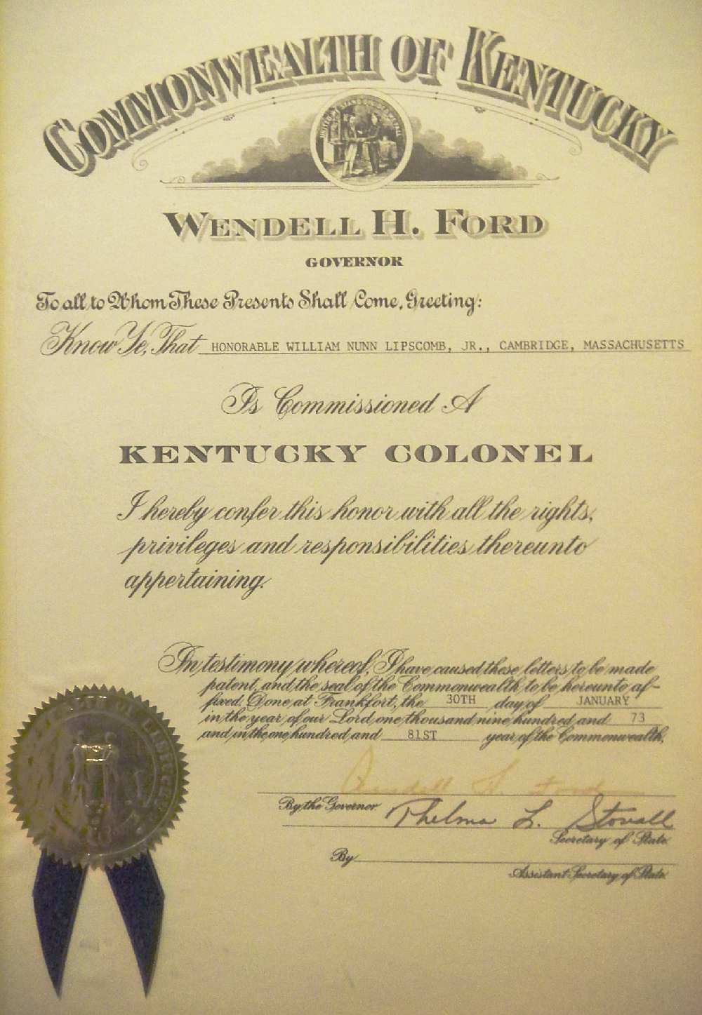 Bill Lipscomb (William           Lipscomb) commissioned as an honory Kentucky Colonel
