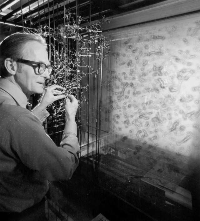 William Lipscomb fitting a Kendrew model of a protein to           its electron density map in a Richards Box